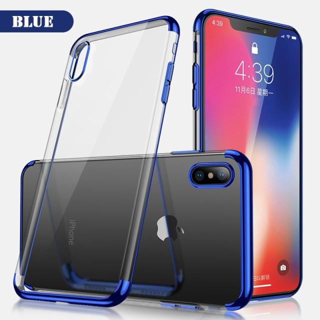 iPhone X ハードケース ブルー 強化ガラス保護フ...