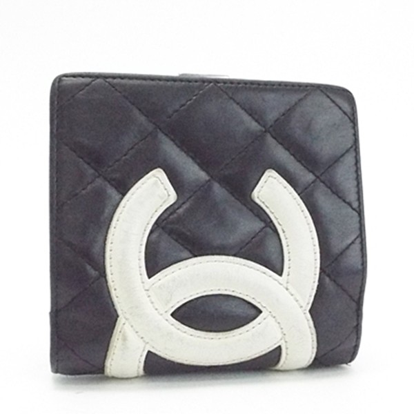 894c065be75f シャネル カンボンライン 二つ折り がま口財布 ココマーク ブラック×ホワイト 内側ピンク A26720 中古 B
