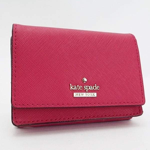 8565fcf738f1c1 ケイトスペード 名刺入れ カードケース コインケース キーリング付き ピンク 中古 Aランク kate spade