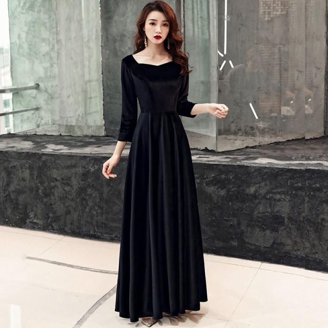パーティードレス ベルベット 黒 二次会ドレス A...