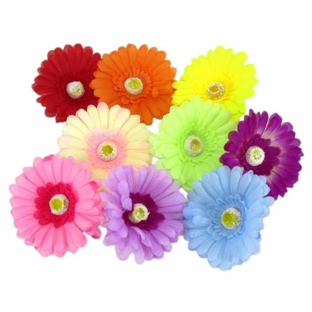 造花 ガーベラ 花のみ 10センチ 27個 (9色)