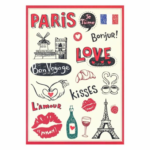ステッカー I love Paris 2枚セット