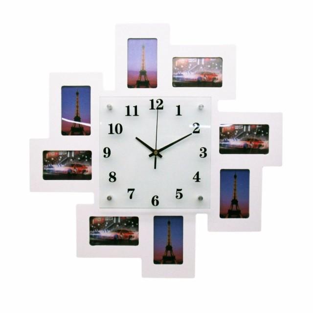 【お取り寄せ】掛け時計 フォトフレーム 8枠付き ...