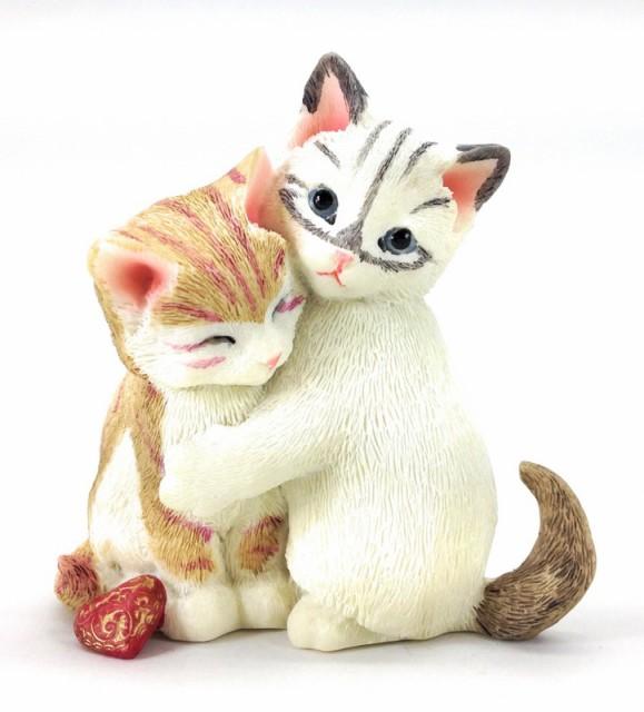 置物 リアルなネコちゃん ムギュと抱き合う2匹の...