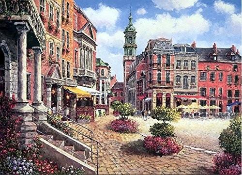 インテリアボード 絵画風 南ヨーロッパ 建物 街並み 風景 木製 Aの通販