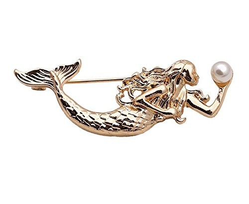 【お取り寄せ】ブローチ 個性的 真珠を持った人魚...