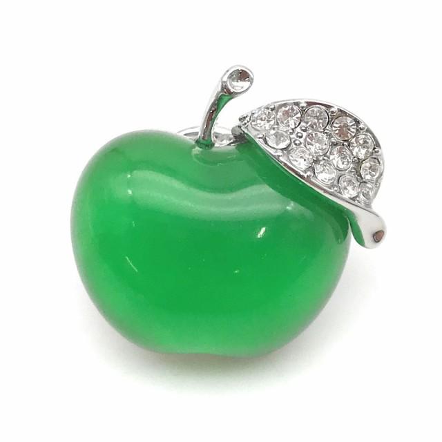 ピンバッジ りんご 宝石のようなドロップカラー ...