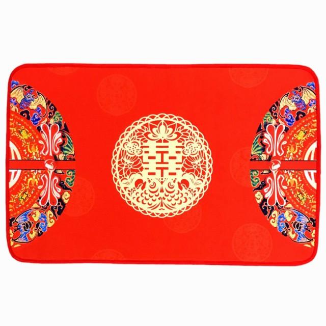 玄関マット 個性的 双喜デザイン 真っ赤 中国的
