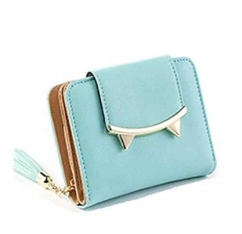 財布 二つ折り 小さな猫耳 コンパクト フリンジ付...