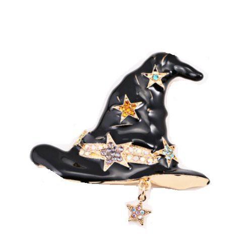 ブローチ かわいい 黒い魔女の帽子 星