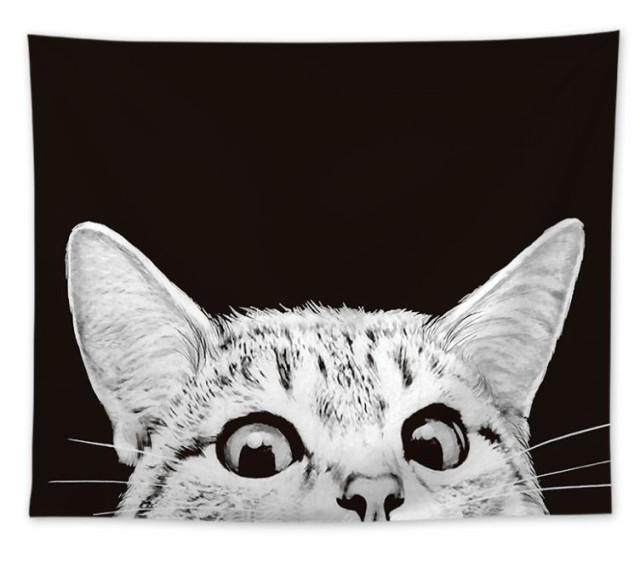 タペストリー ちょこんとのぞく猫の顔 リアル シ...