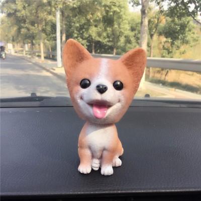 【お取り寄せ】置物 首振り人形 笑う犬 小さなワ...