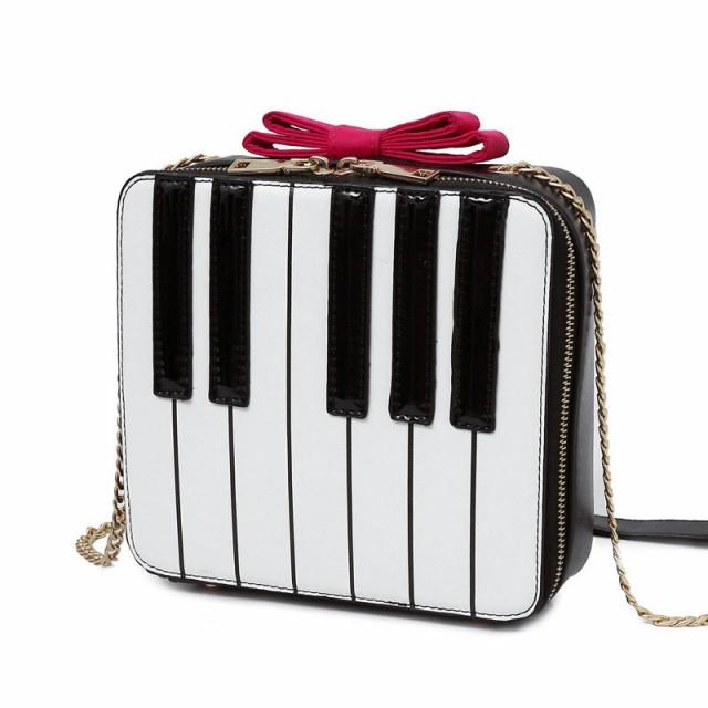 ショルダーバッグ ピアノの鍵盤 リボン付き スク...
