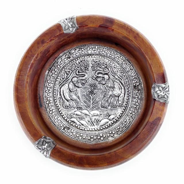 灰皿 象柄 アジアン 手彫り風 丸型 木製 (ブラウ...
