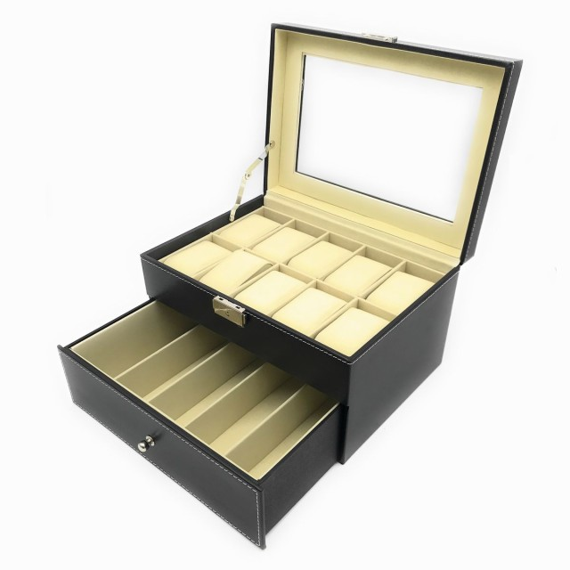 腕時計&メガネ収納ボックス ガラス製窓付き 2段 大容量 腕時計10本 眼鏡5本