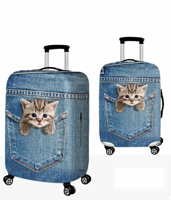 スーツケースカバー ポケットから顔を出すネコ デ...