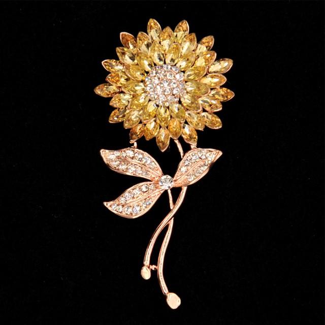 【お取り寄せ】ブローチ ひまわり ビジューの花び...