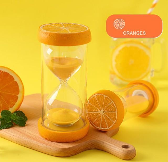 砂時計 15分計 フルーツの輪切りのモチーフ付き ...