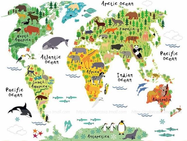 ウォールステッカー 世界地図 かわいい動物のイラストの通販はwowma
