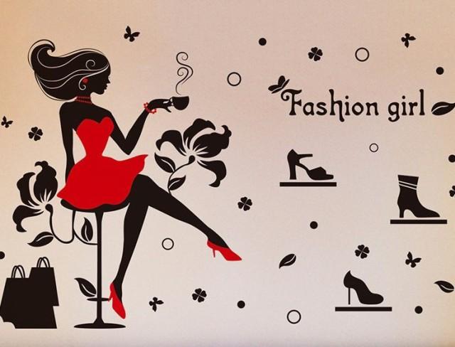ウォールステッカー 赤いドレスの女性 シルエット...