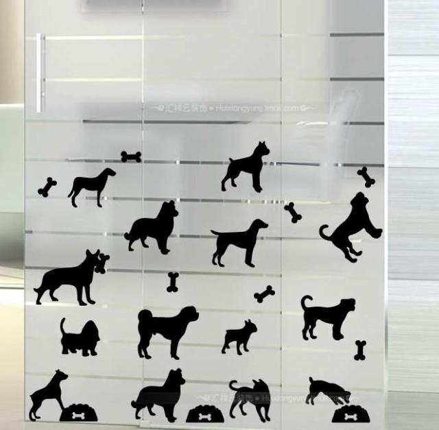 ウォールステッカー 様々な犬種のシルエットいっ...