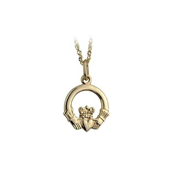 Gold Claddagh Necklace Made in Ireland Traditi...