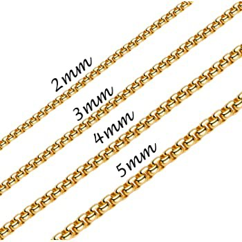5MM 18K Real Gold Plated Square Rolo Chain Sta...
