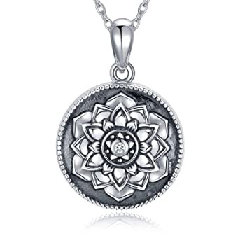 SOULMEET Cameo Lotus Flower Locket Necklace Th...