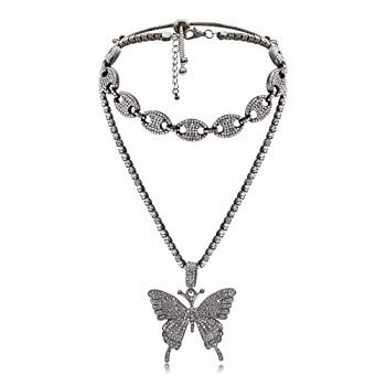 Butterfly Cuban Link Necklace Set - Women Hip ...