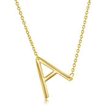 14k Gold Plated Silver Sideways Initial Neckla...