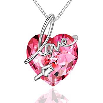 ZEINZE Love Heart Pendant Necklaces S925 Sterl...