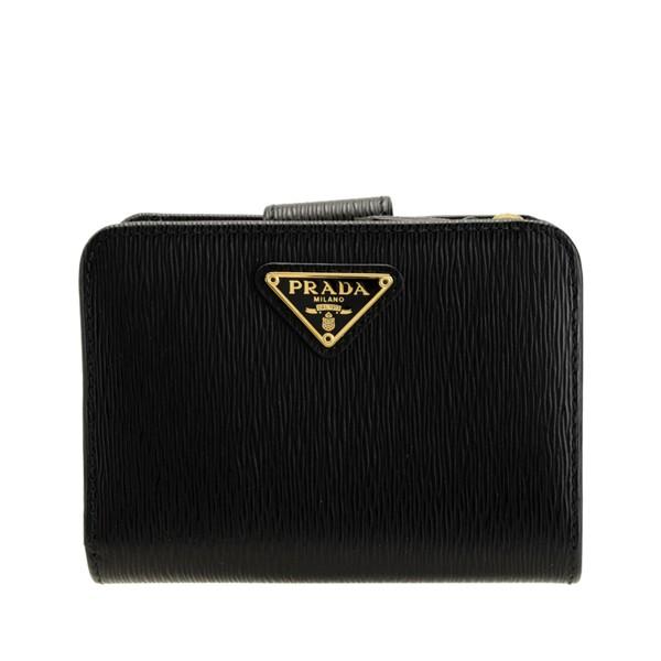 プラダ 財布 レディース PRADA ショップ袋付き 二つ折り財布 女性 プレゼント ブランド ギフト 折財布 かわいい コンパクト ブラック ア