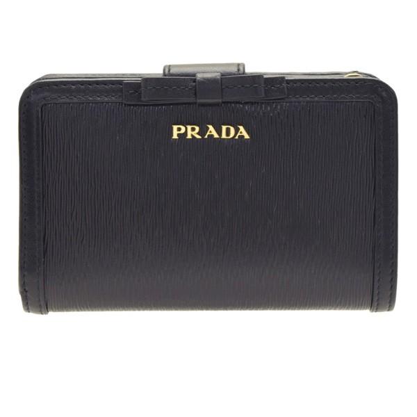 1601c3ef8c63 プラダ 二つ折り財布 レディース PRADA L字ファスナー リボン アウトレット 1ml225vimofi-nero