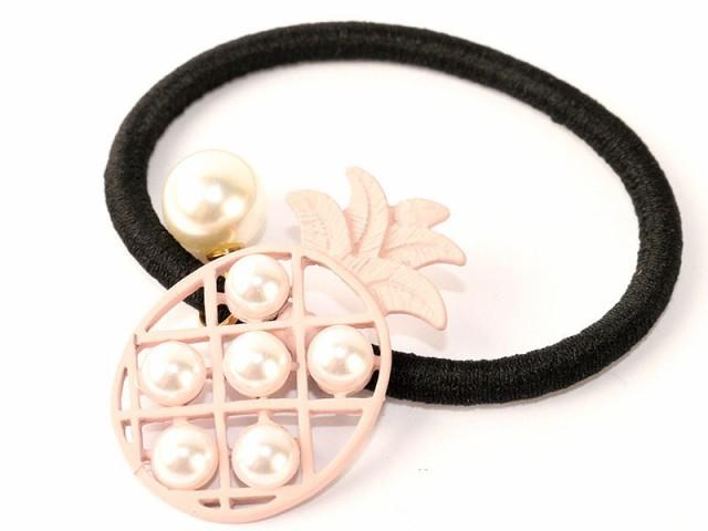 フルーツの形 パイナップル パール ヘアゴム 髪飾...