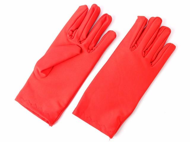 無地 日焼け止め UVカット ショート 手袋#レッド...