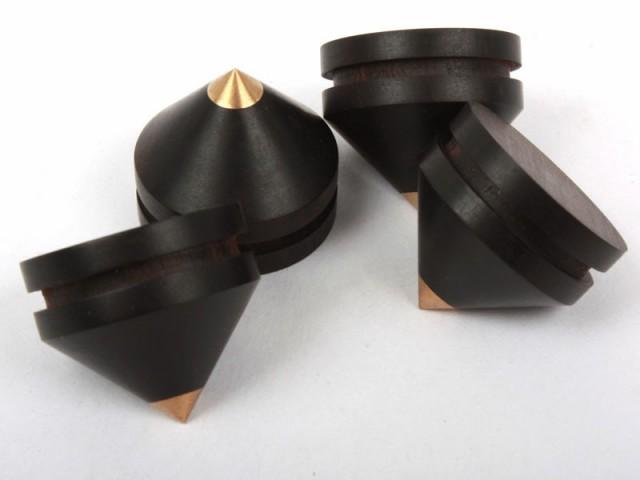 4個セット 黒檀製 オーディオ機器スパイク インシ...