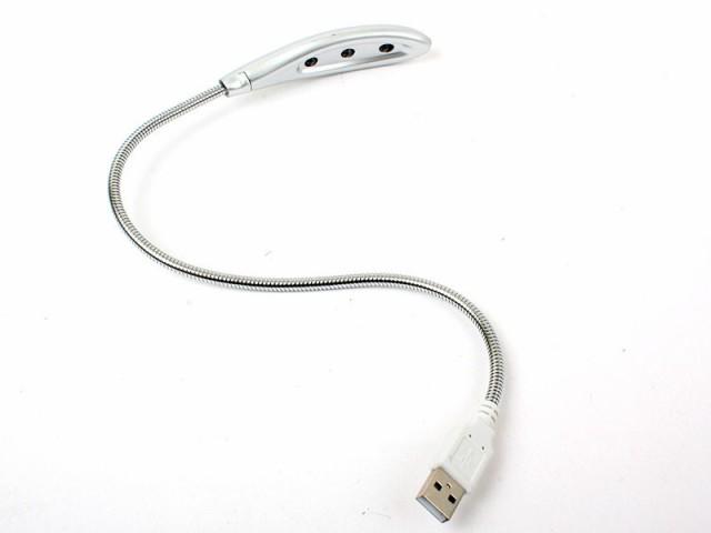 電池不要!便利 USB接続式 3LEDライト 電灯/グレ...