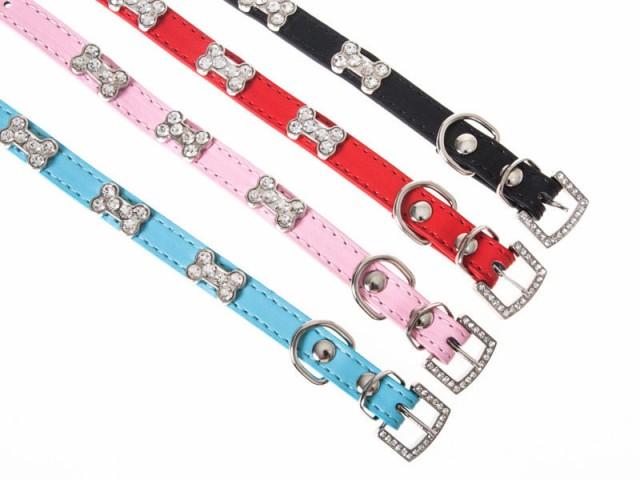 ペット用首輪 猫 小型犬/キラキラ ボーン形ライン...