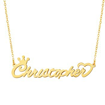 JOFUKIN Christopher Necklace Gold Plated Stain...