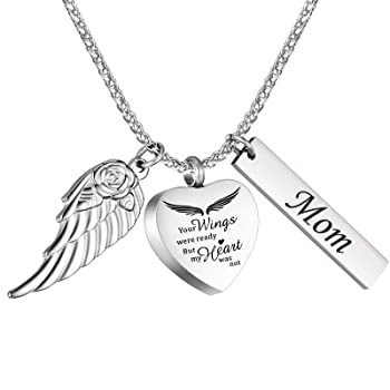 Urn Necklace for Ashes for Mom with Heart%カン...