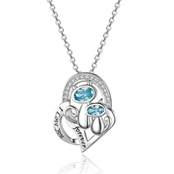 Sterling Silver Cat Heart Necklace : Gifts for...
