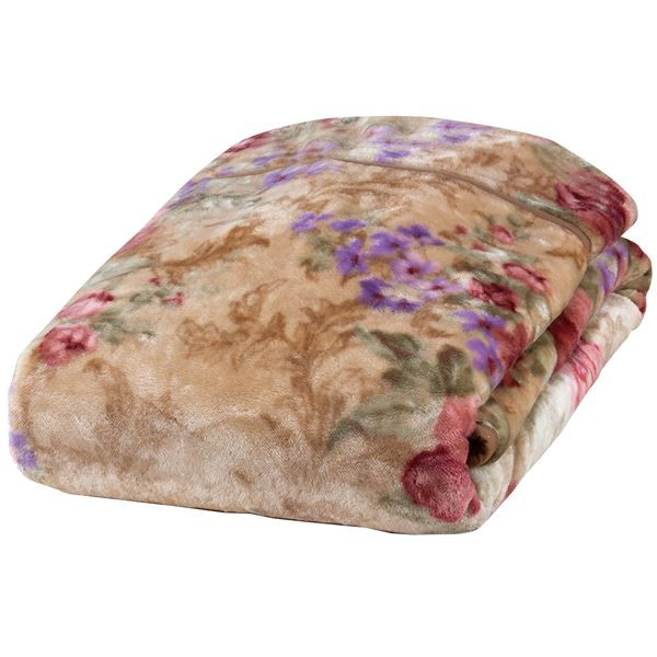 衿付き2枚合わせ毛布(ヤード柄) ピンク 140×20...