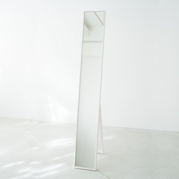 細枠スタンドミラー 幅22cm(ホワイト/白) 天然木/...