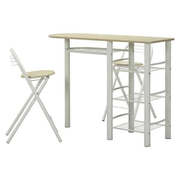 カウンターテーブル&折りたたみチェア2脚セット ...
