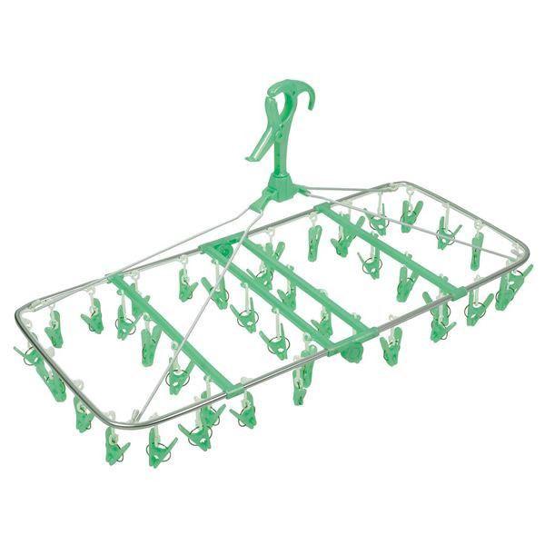 アルミ 洗濯ハンガー/ピンチハンガー 〔40個付 グリーン〕 70×35×38cm 『オーエ アルモア スマート ジャンボハンガ