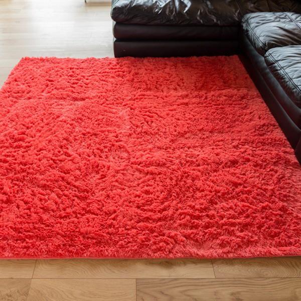 ロングパイル ラグマット/絨毯 〔ピンク 約3畳 約...