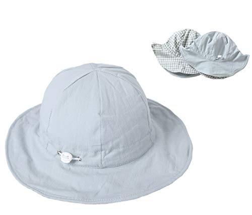 【CENTE】ベビー帽子 赤ちゃん リバーシブルハット つば広 子供 女の子 帽子 男の子 サイズ調整 折りたたみ 紫外線 UVカット 日焼け防止