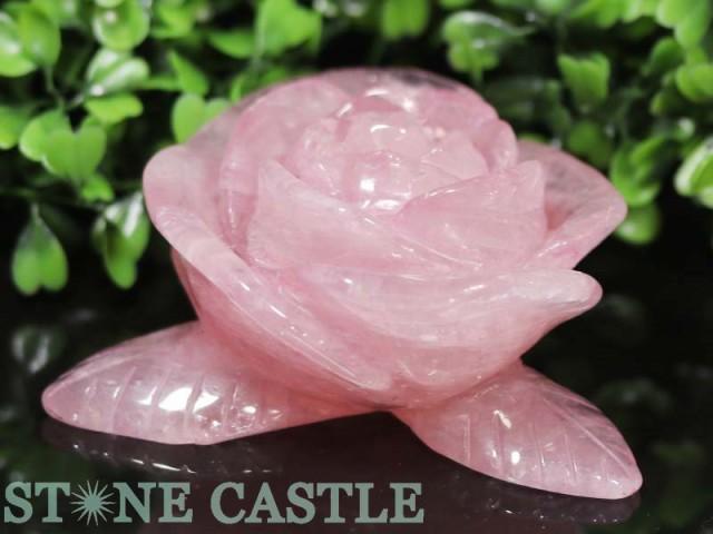 ☆置物一点物☆【天然石 彫刻置物】薔薇置物 ロー...