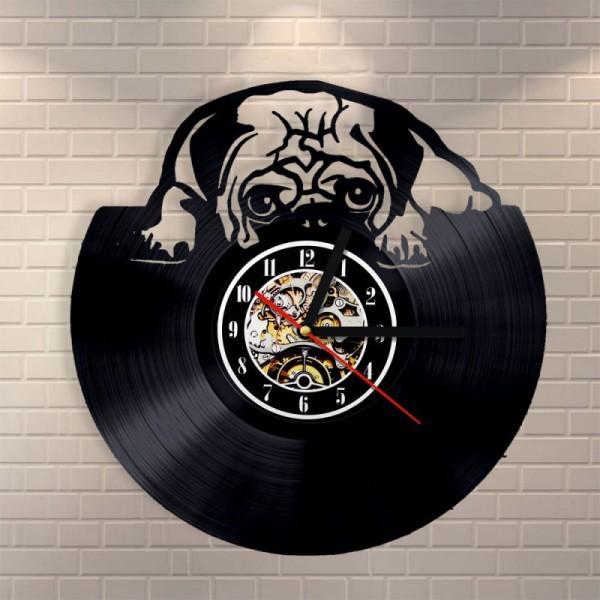 送料無料 30cm レコード盤 壁掛け時計 パグ 犬 家...
