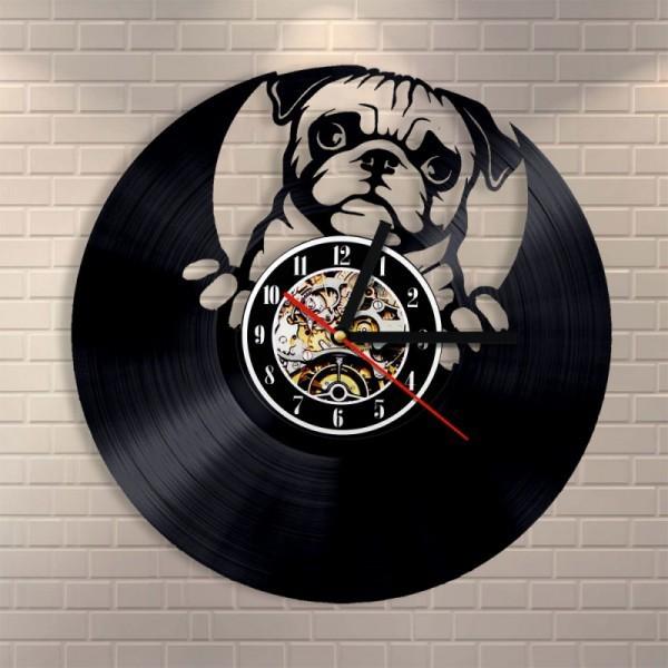 30cm レコード盤 壁掛け時計 パグ 犬 家族 ドッグ...